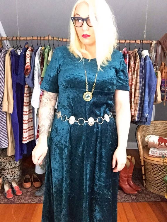 3e67aa34d2b5 Vintage Dress Crushed Velvet Teal Maxi Dress '90s Grunge | Etsy