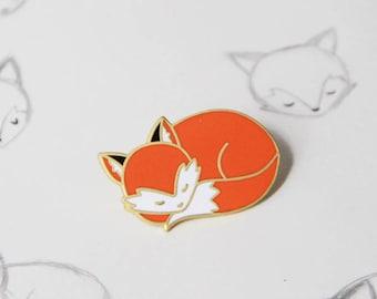Sleepy Fox Enamel Pin