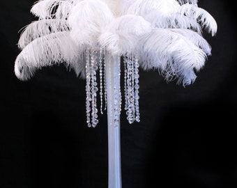 USA Shop! White Ostrich Feathers 13 to 18 inches long. Ostrich Tail Centerpiece Feathers