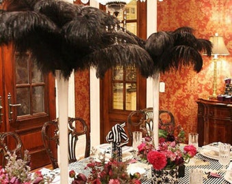 Black Ostrich Feathers, TAIL Plumes 13 to 18 inch, 10 Pcs. USA Store, Centerpieces, Samba, Carnival, Mardi Gras, Weddings, Burlesque