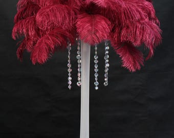 USA Seller! Burgundy Ostrich feathers,15 to 18 inches Long.Giant Ostrich Feather Tail Plumes, Feather Centerpieces,Mardi Gras,Carnival,Samba