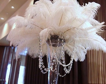 White Ostrich Feathers Plumes, DRABS 13 to 16 inch, 1 to 100 Pcs. USA Store.Centerpieces,Samba,Carnival,Mardi Gras,Weddings,Burlesque