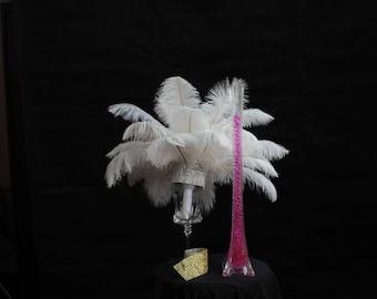 """Amazing 33"""" DIY Feather Centerpiece Kit. Create exquisite feather centerpieces for your special event! 25 Feathers each centerpiece"""