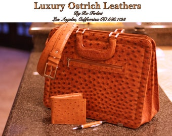 """Ostrich Leather Briefcase 'Genuine' Ostrich Leather """"The Gentlemen Collection""""  Wholesale Prices Ostrich Leather Products Los Angeles"""