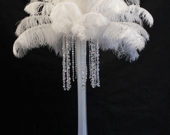WHITE Ostrich Feathers. 15 to 18 inch Tail feather Plumes 1-100 pcs. option. USA SELLER of Feather Centerpieces, Wholesale Wedding Feathers
