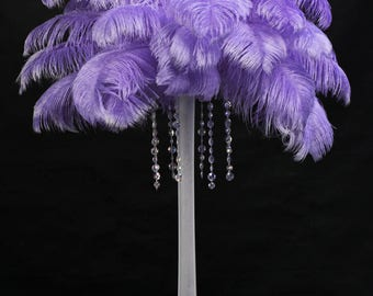 USA Seller! LAVENDER Ostrich Feathers.Giant Tail Feather Plumes.13 to 18 inches Long,Feather Centerpiece, Mardi Gras,Samba,Burlesque,Costume