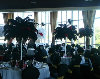 Special Sale USA Store! BLACK Ostrich Feathers 14 to 18 inches Long. Deluxe Tail Ostrich Plumes. Feather Centerpieces,Mardi Gras,Burlesque