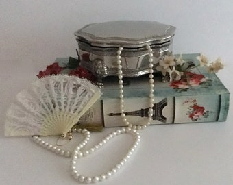 Silver Plate Footed Jewelry/Trinket Box