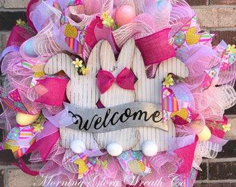 Welcome Bunny Easter Wreath