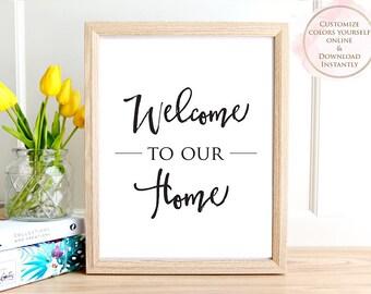 Printable wall art, Welcome To Our Home, Printable Quote, Wall Art Prints, Printable Art, Home decor, Printable Gift, Digital Print, Prints