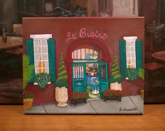 New Orleans Art / French Quarter / Colorful Cafe / From Original Painting Le' Bistro / Sidewalks of NOLA / Certificate of Authenticity