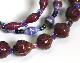 Paper Bracelet Single Stretch/dark purple or lavender/MED/Recycled/JJ-BR-1