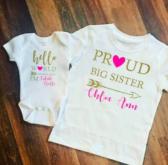 c5bfcf7c2 Hello world and proud big sister Big Sister Little Sister | Etsy