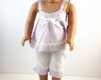 Purple Pajamas, Polka Dot Pajamas, 18 Inch Doll Clothes, Trendy Sleepwear, Doll Pajamas, Doll Outfit, Made in Canada, Gift for Girls