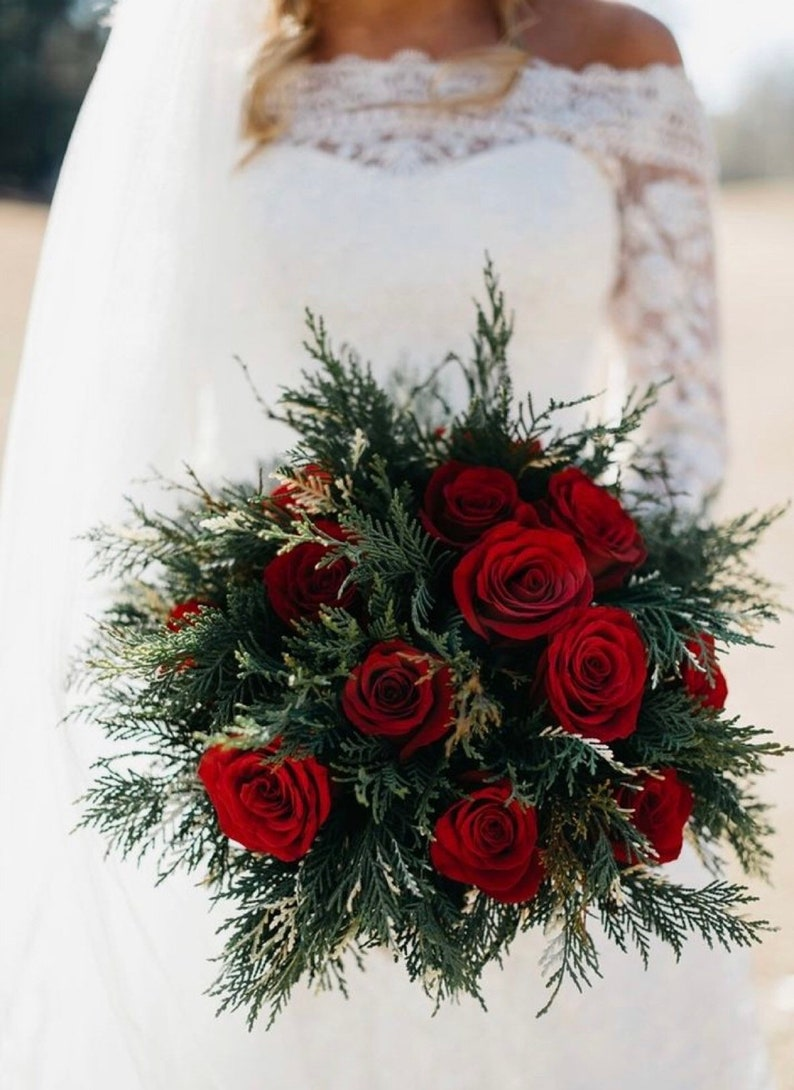 Made To Order Winter Bouquet Winter Bridal Bouquet Red Bouquet Burgundy Bouquet Wedding Bouquet