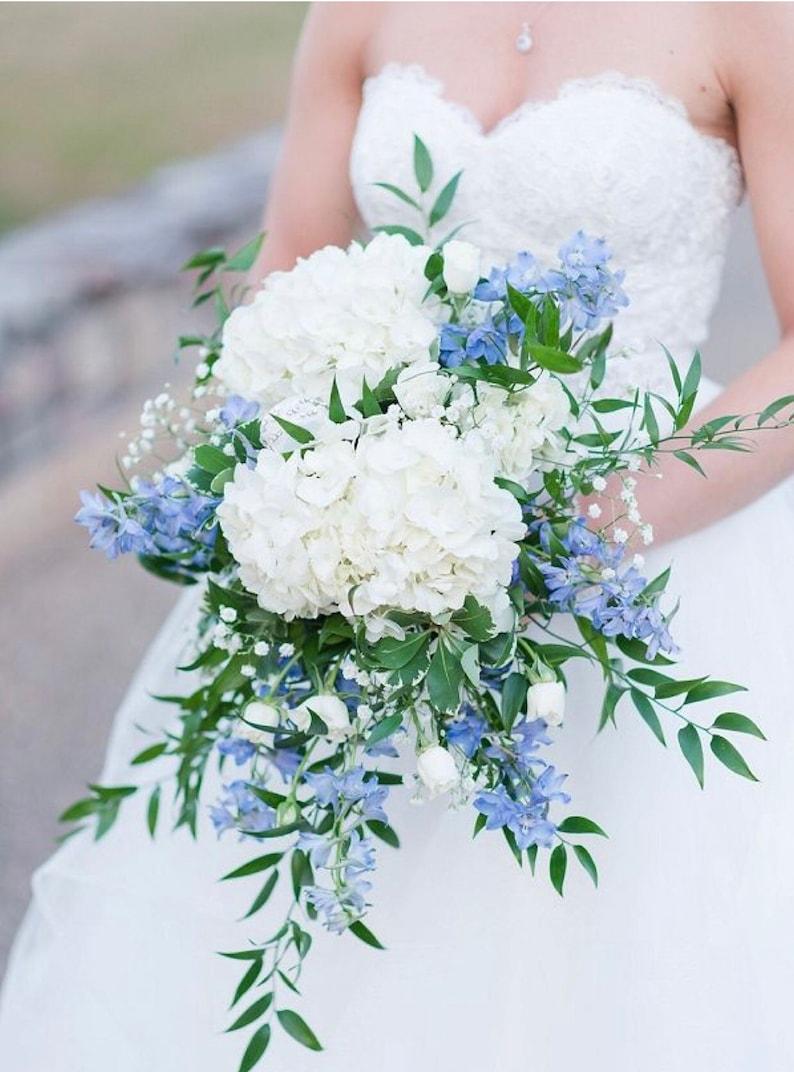 Hydrangea bridal bouquet bridal bouquet with blue cascading image 0