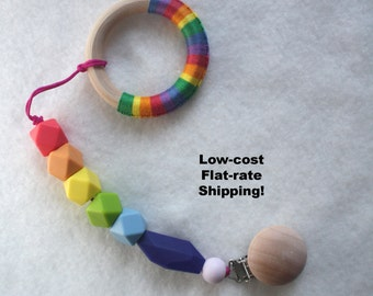 Silicone Pacifier Clip Ring Rainbow Binky Clip Dummy Teether Clip Soother Clip Baby Bite Bead Universal Clip Toy Clip Newborn Baby Girl /Boy