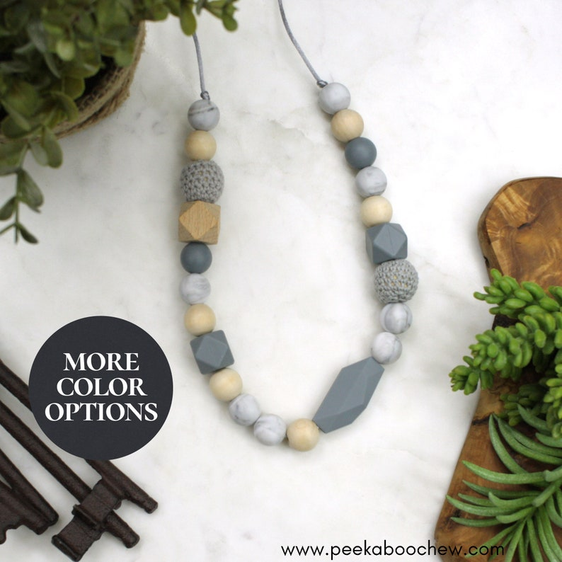 Silicone Teething Necklace CHOOSE Color Leaf Baby Bite Bead Nursing Necklace Teethe Chewing Chew Jewelry Geometric Toddler Teething Toy