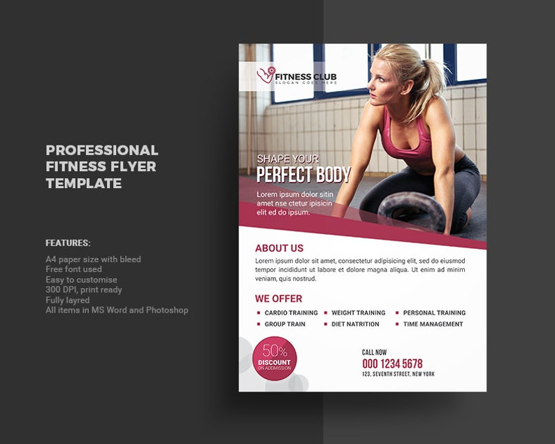 Fitness Club Flyer Template | Gym Flyer Template | Photoshop & Elements  Template, Instant Download