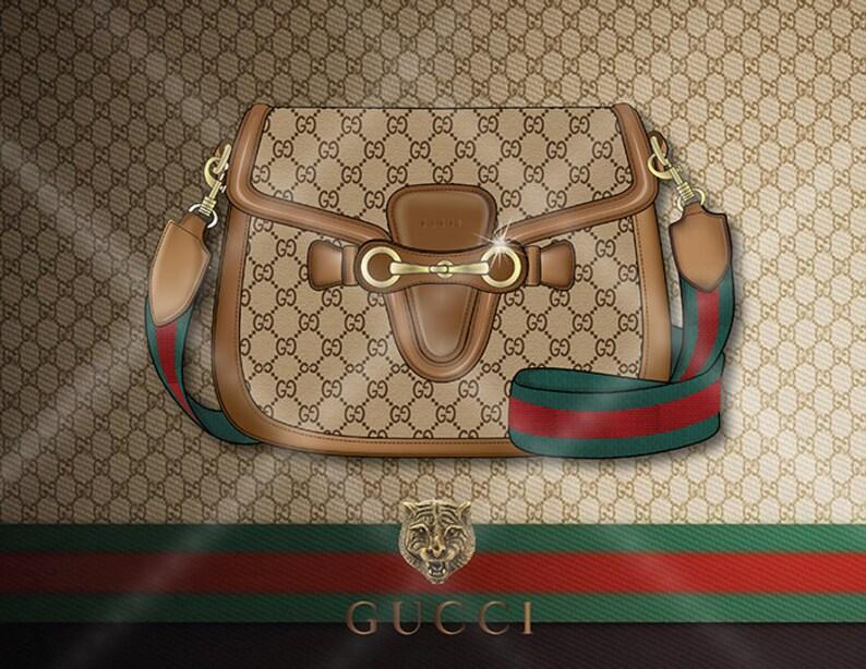 bac07592aff7e Plakat mody torebka Gucci Lady Web druk mody ilustracji   Etsy