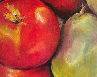 Apples & Pears - Small Still Life Painting on a Wooden Panel