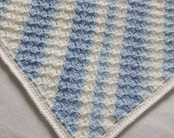 Crochet blue baby blanket, Crochet blankets for sale, baby shower gift, baby boy gift, crochet baby blanket boy