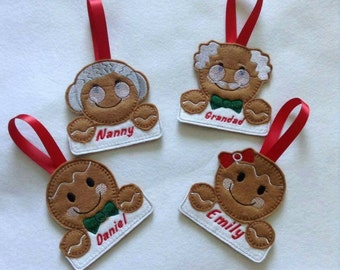 Personalised Christmas decorations, personalised family Christmas decorations, Christmas tree decorations, gingerbread man decoration