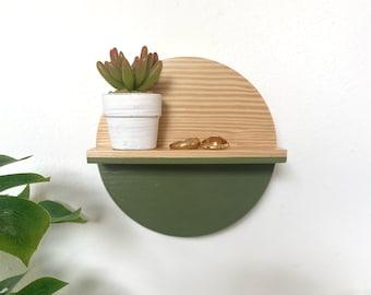 Mini round shelf  • Sage • Home Decor | Wooden shelf | Wall hanging | Wall decor | Display shelf
