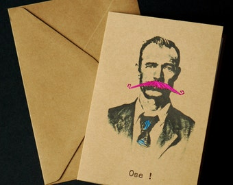 Embroidered card - face man - pink moustache - Ose!