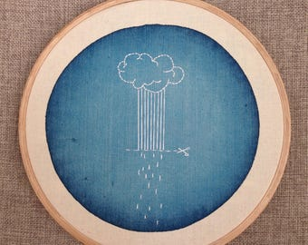 Cloud rain on a blue watercolor duck embroidery