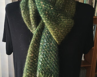 Handwoven scarf dark green with metallic gold, soft hand woven mohair scarf, unique woven gift for her and for mom, soft woven winter scarf