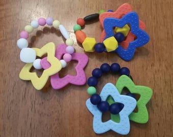 Star Silicone Teether Detachable Beaded Teether Bracelet, Teething Jewelry, Autism, Sensory, Teething Beads, Teething Toy, Chew Toy