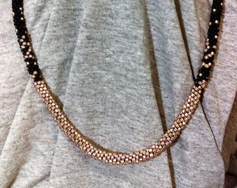 Kumihimo Necklace Black and Pink