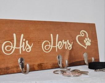 His and Hers Key Hooks and Dog Leash Hook   Key Hook & Leash Holder Sign   Key holder Sign   Dog Leash Sign