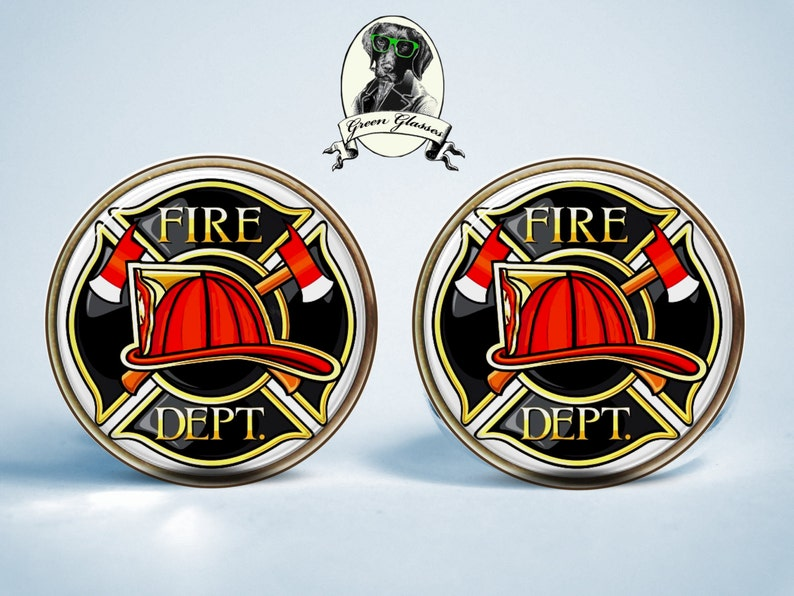 gift for husband lifeguard fire fire department cufflinks crystal clear glass dome on top jewelry gift gift for wife Cufflinks fire