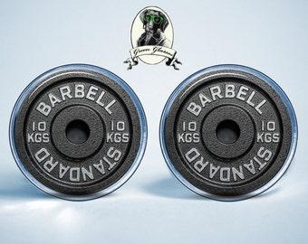 Mens earrings, Barbell Stud Earrings Gym Lift Dumbbell Weightlifting Bench Standard Fitness Bodybuilding motivator Sport is life