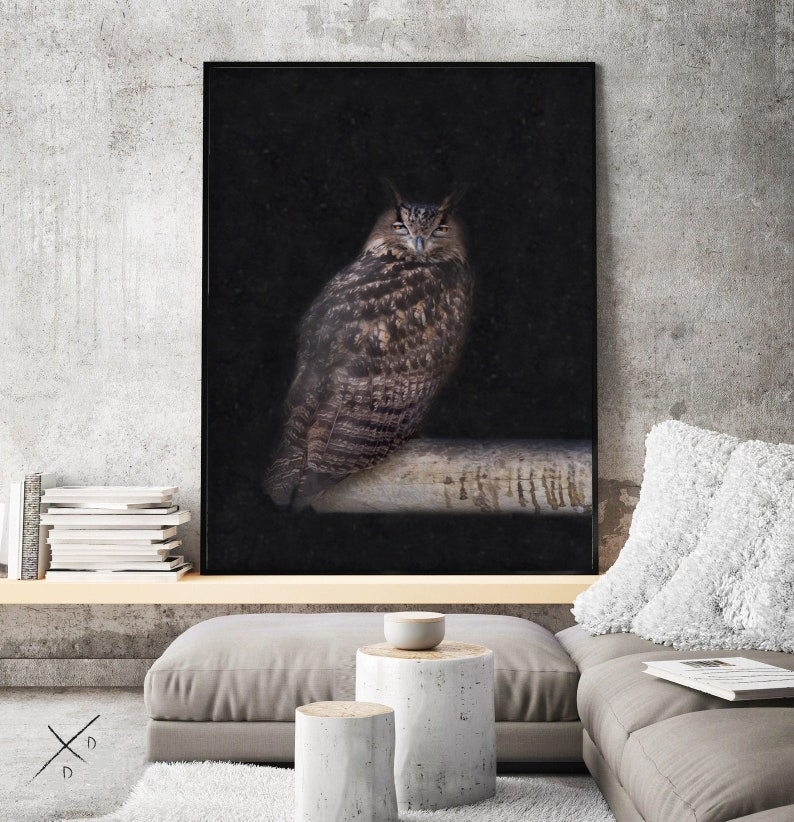 wise bird theme Wise OWL Digital print for office or home by Darkydoors