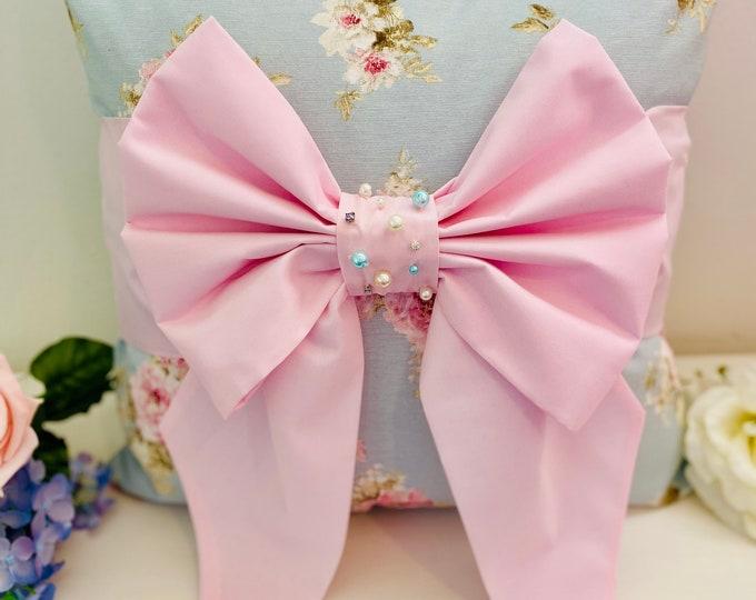 Floral Pearl Bow Cushion