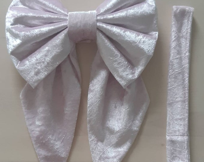 Crushed Velvet Cot Bow/ Curtain Tie Back x 1 Available in Pink, White, Silver or Blue