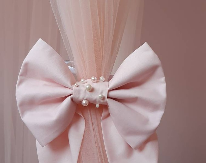 Blush Canopy Tieback Bow