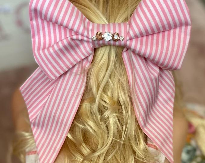 Candy Stripe Hair Bow