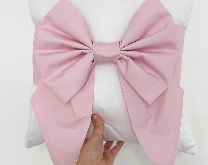 Pink Cotton Bow Cushion