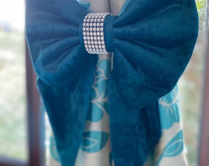 Diamante Bow Curtain Tie Back Set