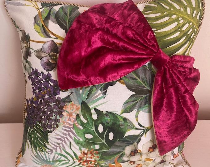 Tropical bow cushion