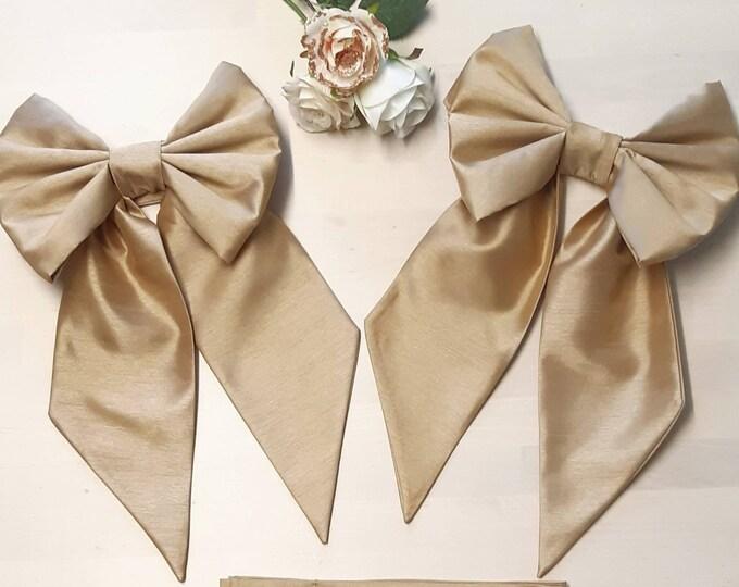Gold Bow Curtain Tieback Set