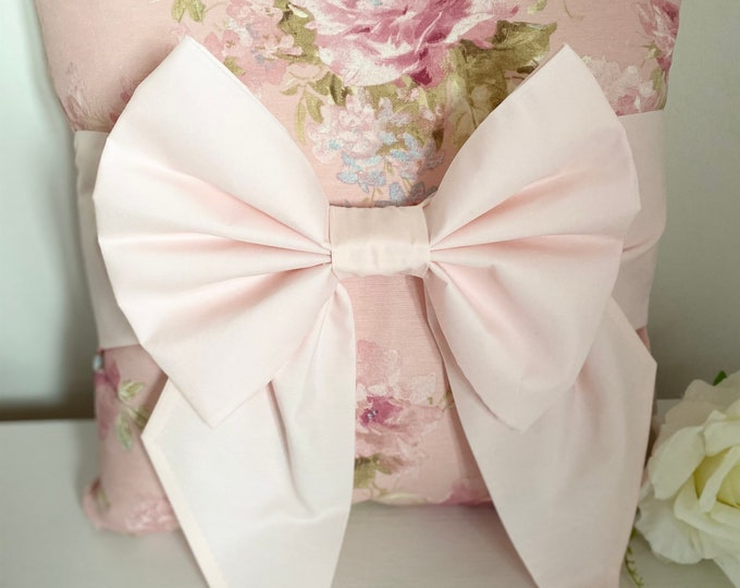 Pink Floral Bow Cushion