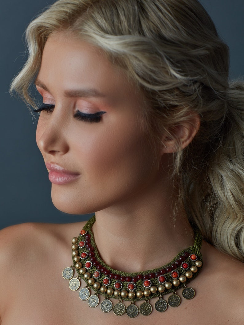 Handmade Beaded Necklace with Sequins Halay Collection