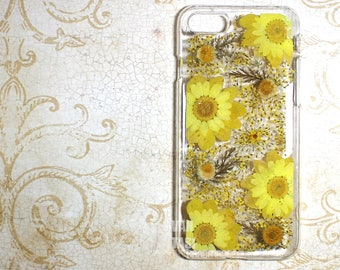 Yellow daisy Real Floral pressed flowers Natural flower case cover for iphone 5 5s SE 6 6s 7 8 X Plus Iphone X case Skin real flowers  sun