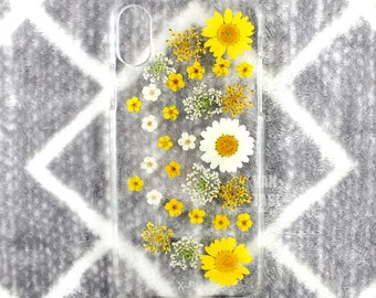 Real Floral pressed flowers Natural flower case cover for iphone 5 5s SE 6 6s 7 8 X Plus Iphone X case Skin real flowers Yellow daisy white