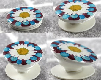 popsocket Real flowers daisy handmade Pop up socket Grip Phone Holder Ring Stand White  Phone case for IPhone Android Samsung galaxy floral